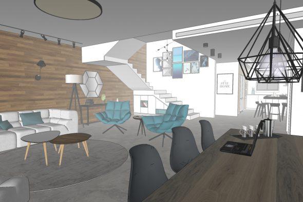 תכנון ועיצוב פנים לבית דו משפחתי-המחשת חלל הסלון\פינת אוכל\מטבח המתוכנן.