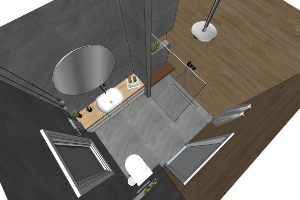 המחשת מקלחון קבוע בחדר רחצה מתוכנן.