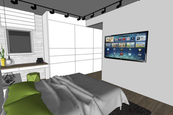 חדר שינה הורים-מודל להמחשת נגרות.