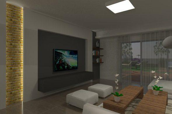 """המחשת חלל מגורים עבור דירה בפ""""ת."""