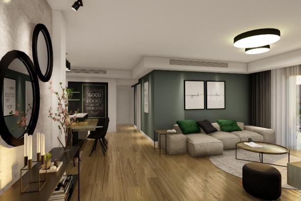 המחשת חלל הסלון-מטבח, מדלת הכניסה לדירה.