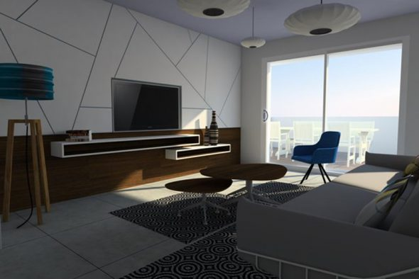 הדמיית חלל מגורים לדירה בראשון לציון.