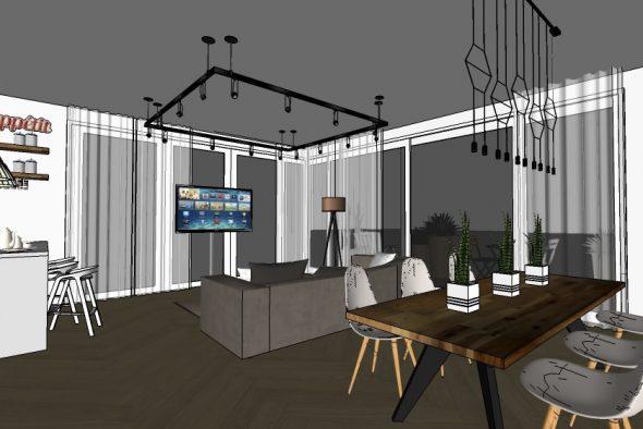 המחשת חלל מגורים+פינת אוכל עבור דירה בתל אביב.
