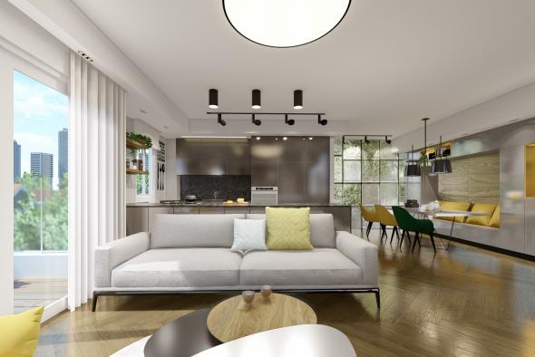 תכנון ועיצוב פנים לדירה בגבעתיים-הדמיית חלל המגורים 1