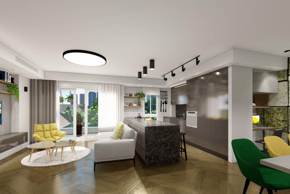 תכנון ועיצוב פנים לדירה בגבעתיים-הדמיית חלל המגורים 2