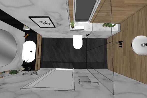 חדר רחצה-מודל להבנת גודל ומיקומי כלים.